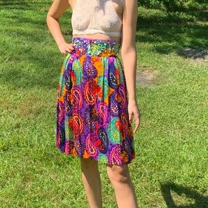 Rainbow Paisley High Waist Hippie Skirt 1970 Boho